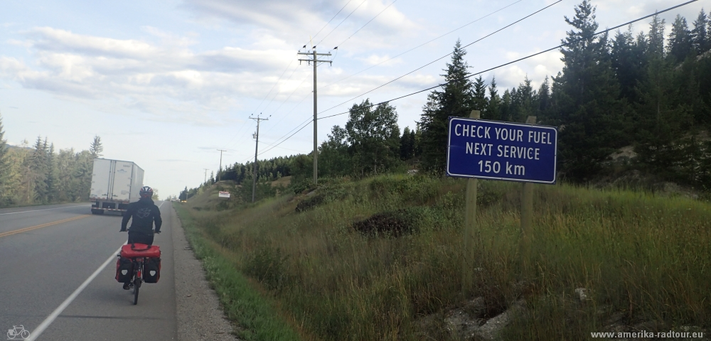 Cycling from Golden to Rogers. Trans Canada Highway by bicycle.