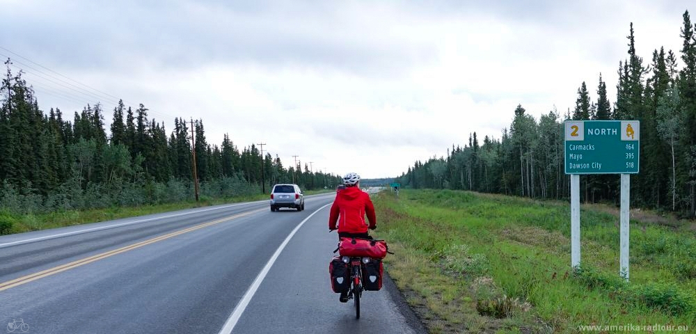 Cycling Klondike Highway from Whitehorse to Dawson City.