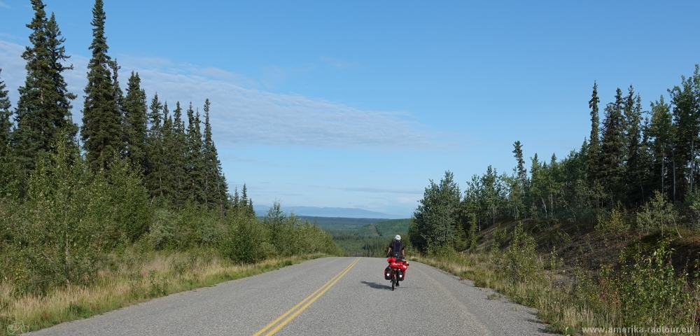 Cycling Klondike Highway northbound.