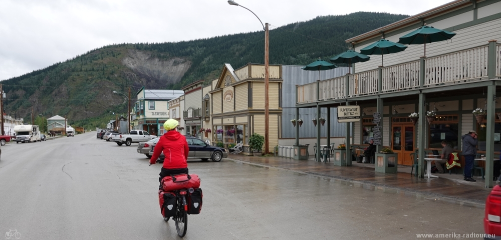 Cycling from Whitehorse to Dawson City following Klondike Highway.