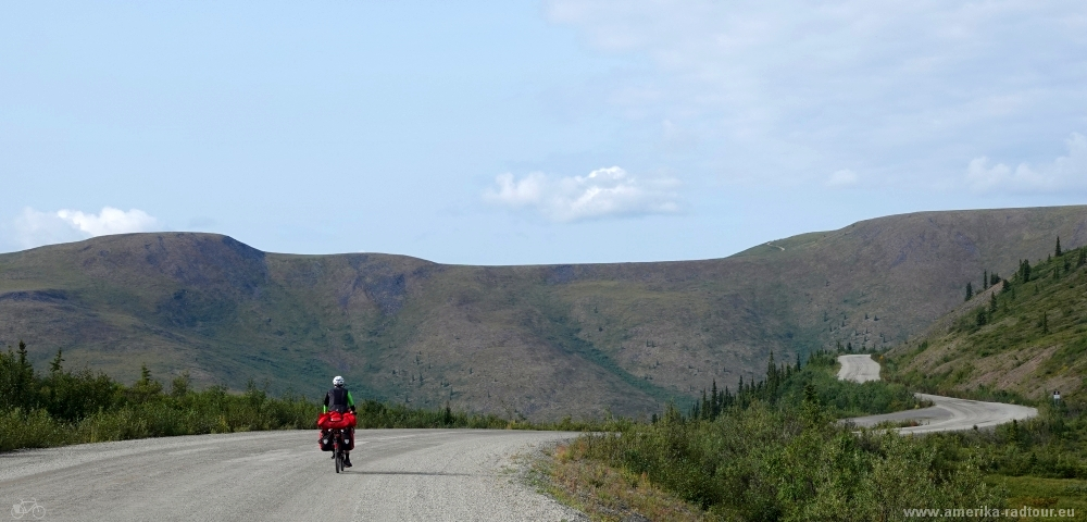 Radtour über den Top of the world Highway von Dawson City nach Alaska.