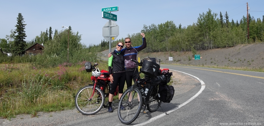 Taylor Highway by bicycle. Tetlin Junction.