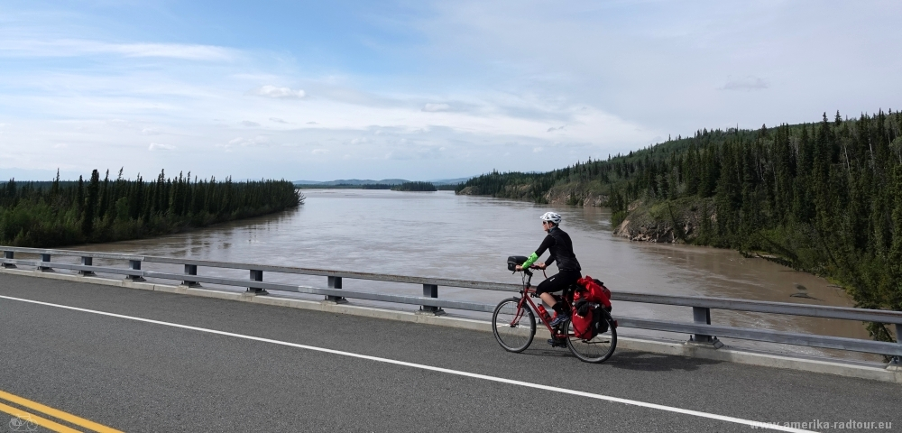 Cycling the Alaska Highway: Tanana River Bridge.