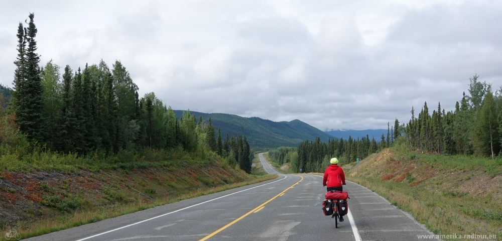Cycling the Alaska Highway northbound.