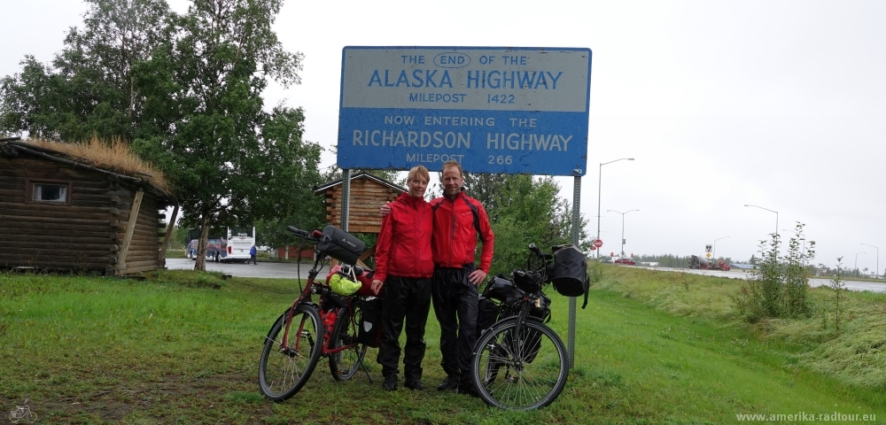 Cycling northbound to Delta Junction,  the northern end of the Alaska Highway.