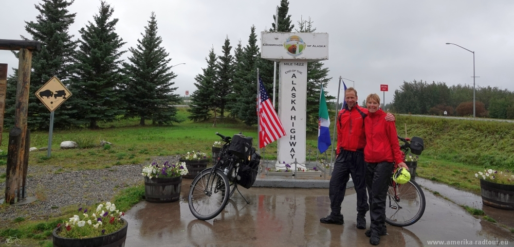 Cycling to Delta Junction following the Alaska Highway northbound.