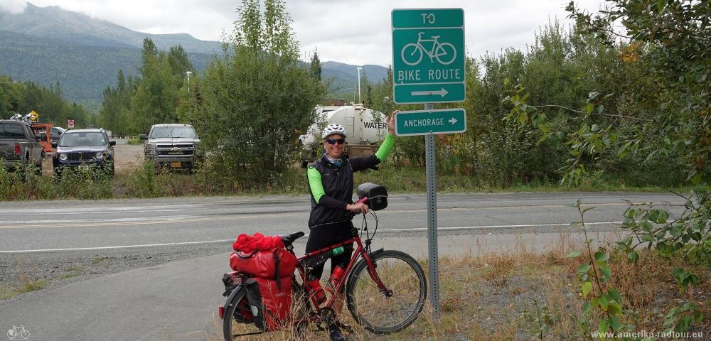 Cycling Parks Highway to Anchorage.